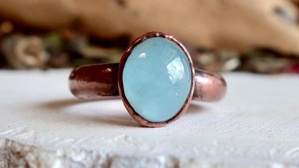 Milky Aquamarine Copper Ring US Size 7