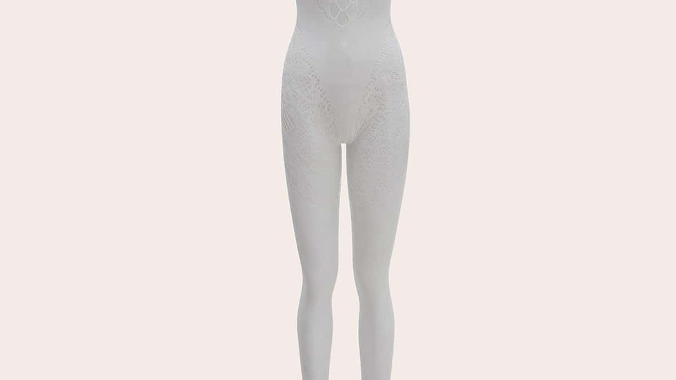 Contrast Mesh Crotchless Halter Bodystocking
