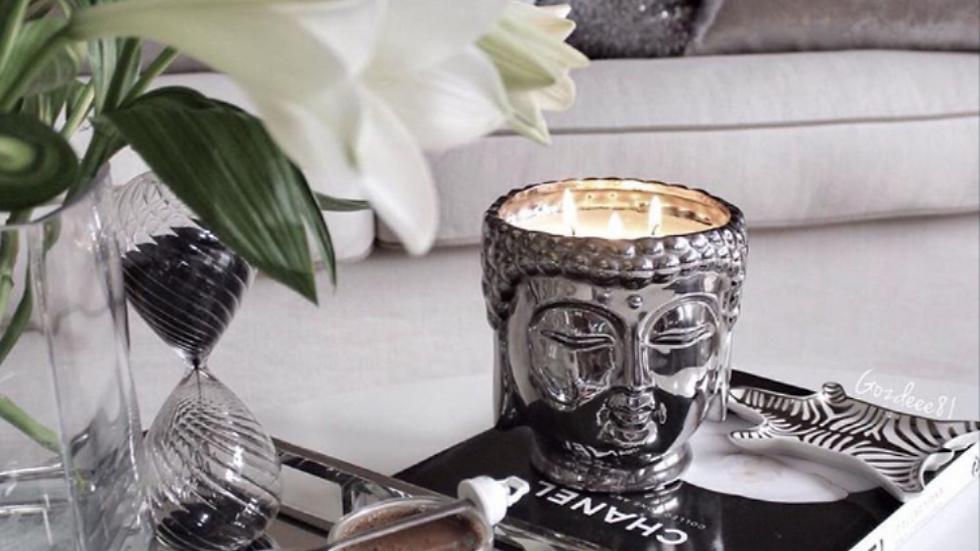Metallic Silver Buddha 3-Wick Scented Candle