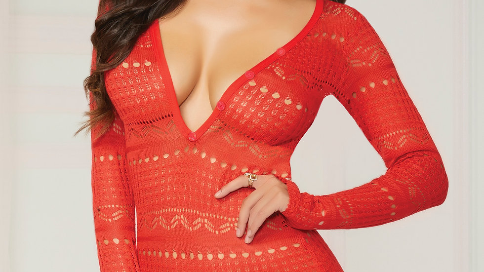 Knit Long Sleeve Romper  - Small  - Red