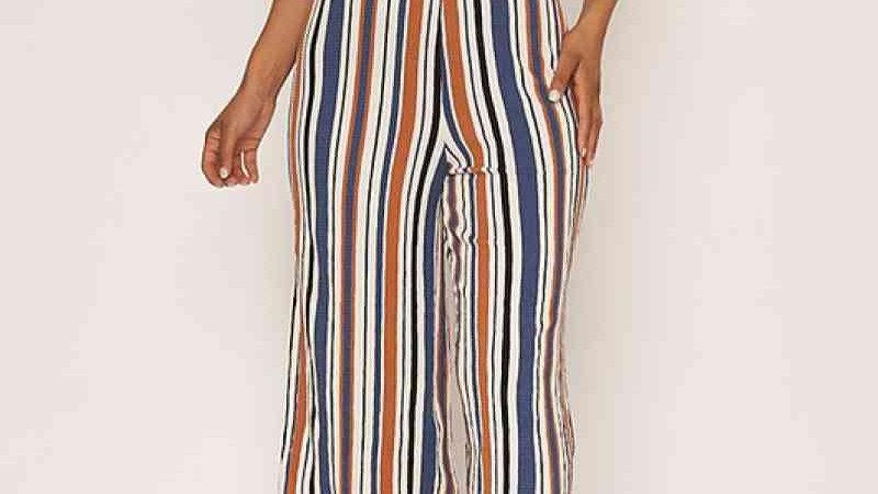 Striped Cutout Detail Jumpsuit