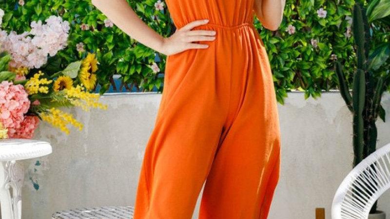 Orange Cutout Wide Leg Jumpsuit