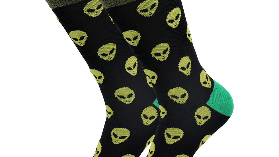 Sick Socks – Alien – Off the Wall Casual Dress Socks Cool af
