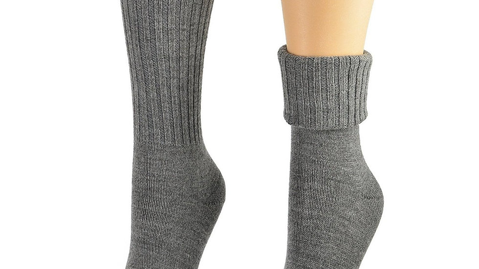 Solid Color Ribbed Crew Turn cuff Soft Acrylic Socks 3 Pair Pack Socks