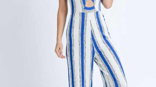 Striped Keyhole Jumpsuit