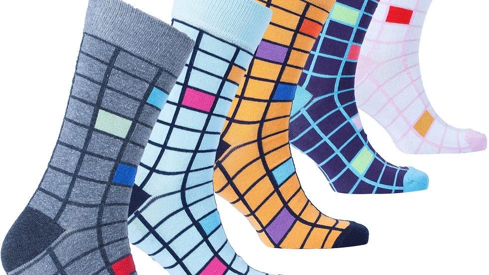 Haught Lounge Fashionable Blocks Socks