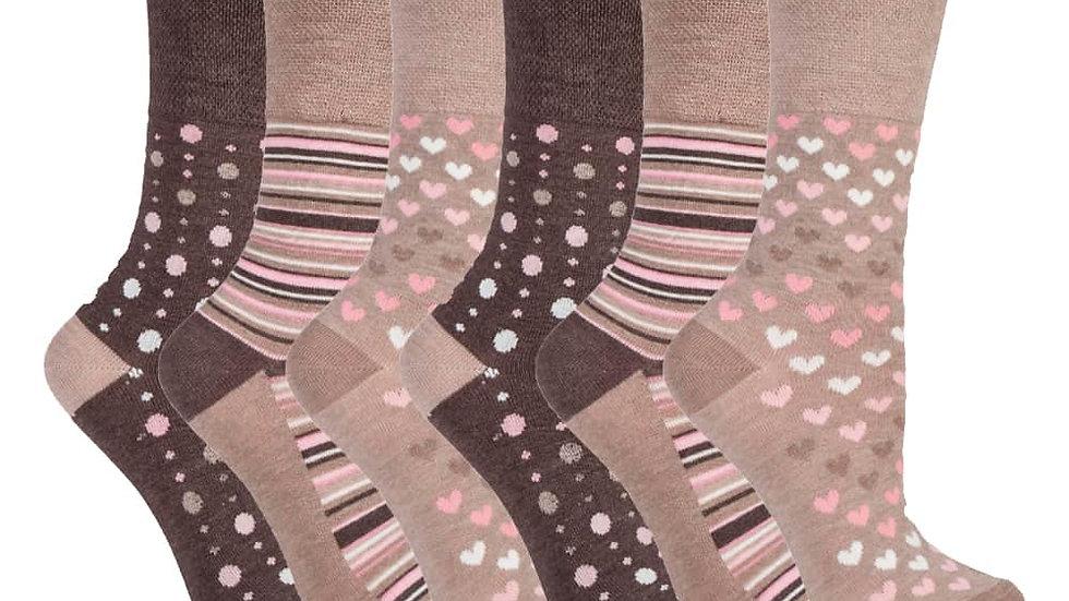 6 Pk Ladies Non Elastic Loose Top Bamboo Socks