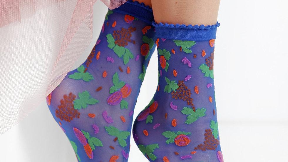 MICOL sheer blue socks for women