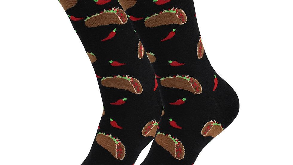 Cozy Designer Trending Food Socks - Chili Taco for Women