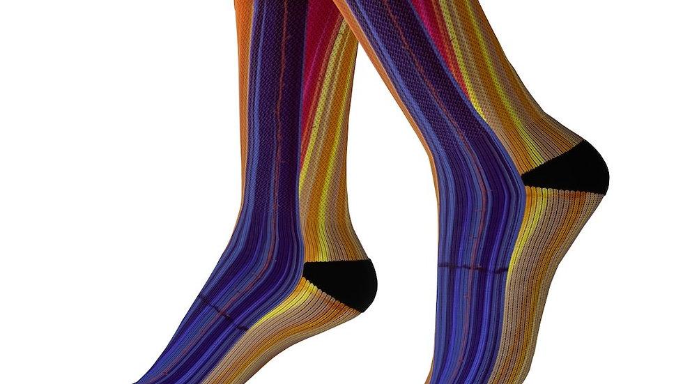 Colorful Striped Fun Awesome Socks Pink