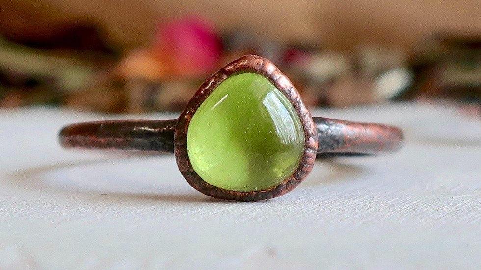 Peridot Copper Ring   Peridot Jewelry   August Birthstone Copper Ring