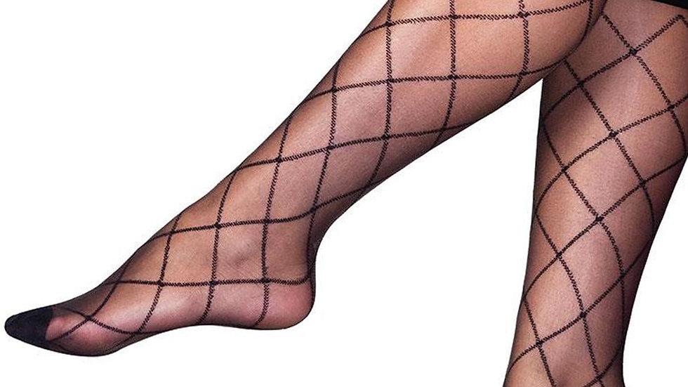 Diamond Patterned Knee High Socks Black