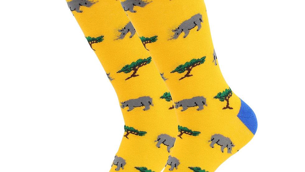 Sick Socks – Rhino- Exotic Animals Casual Dress Socks
