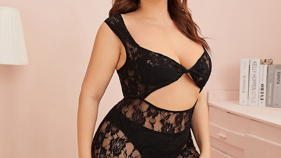 Plus Cut-out Floral Lace Dress With Thong
