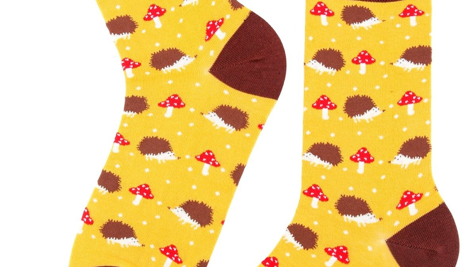 HEDGEHOG ON MUSHROOMS  yellow cotton socks