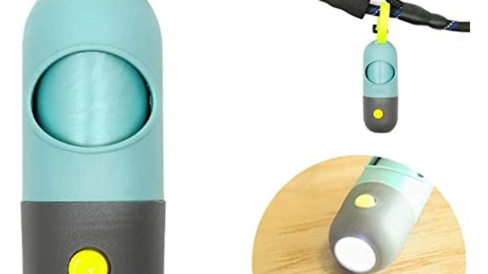 Garbage Bag Dispenser With LED Flashlight And Carabiner Clip SP