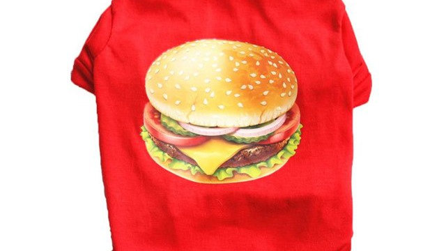 Red Cheeseburger Dog T shirt Vest Cotton Small