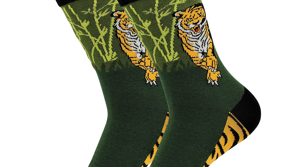 Sick Socks – Tiger(Green) – Exotic Animals Socks So fn Cool