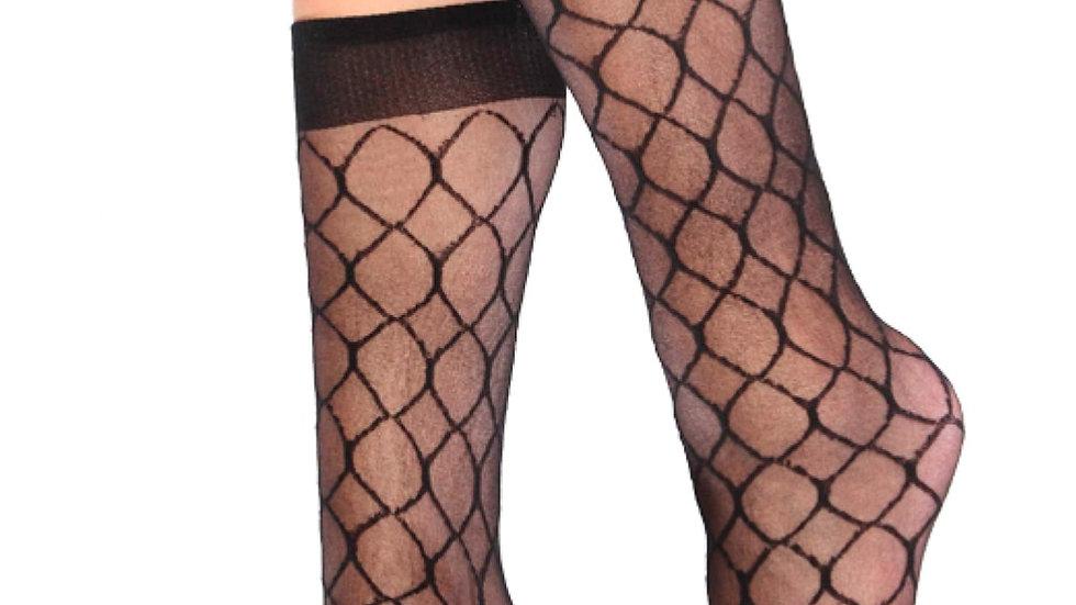 Relax Patterned Knee High Socks Black