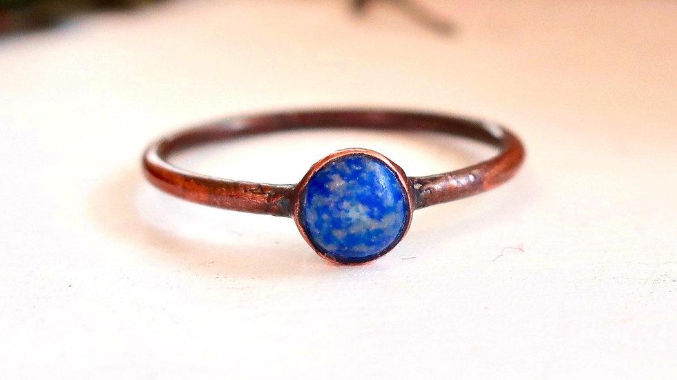 Dainty Lapis Lazuli Copper Ring