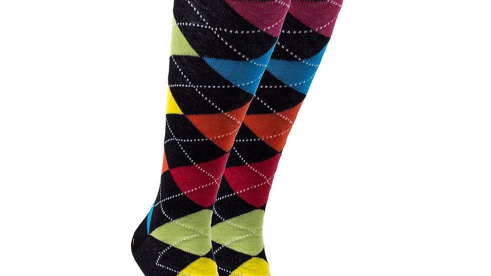Women's Mixed Black & Primary Argyle Knee High Socks