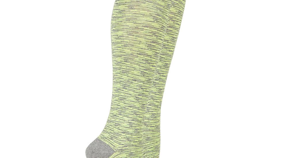 Women's Lime Grizzled Stripe Knee High Socks