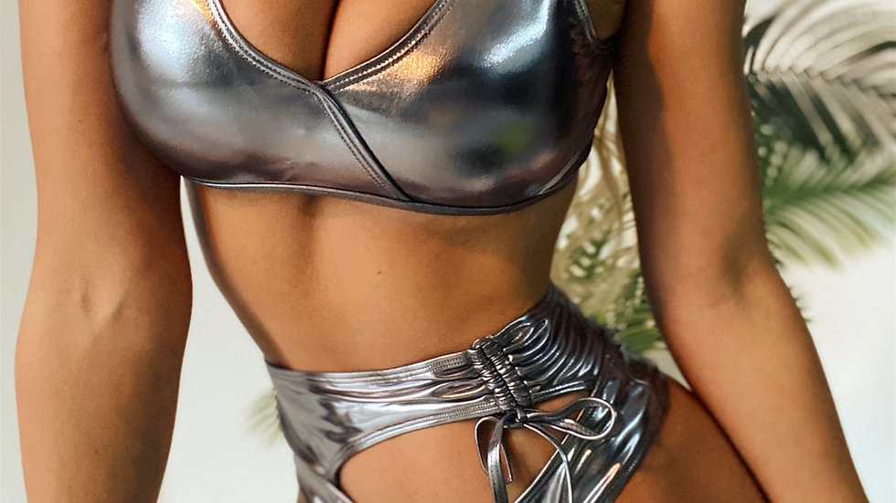 Metallic Cut-out High Waisted Bikini Swimsuit