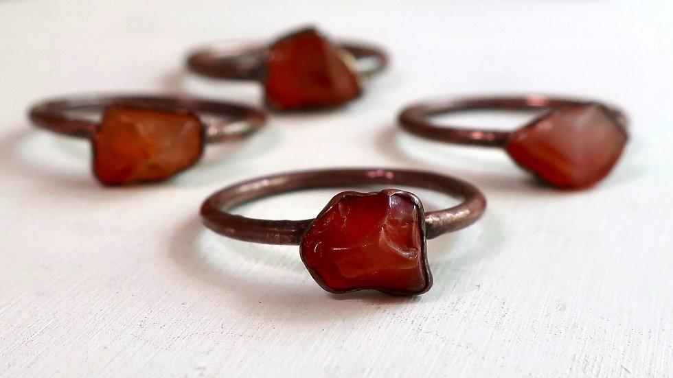 Tumbled Carnelian Agate Copper Ring