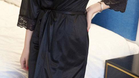 Contrast Lace Trim Self Tie Wrap Robe