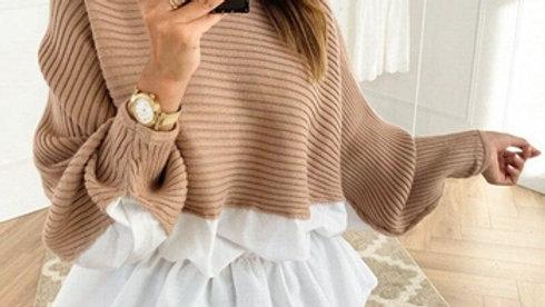 Ruffles Patchwork Sweater Jumper Streetwear