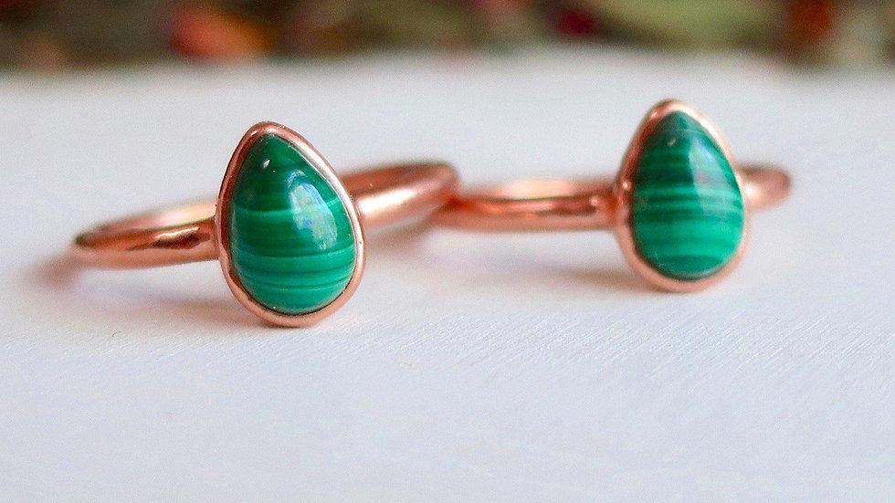 Malachite Copper Ring