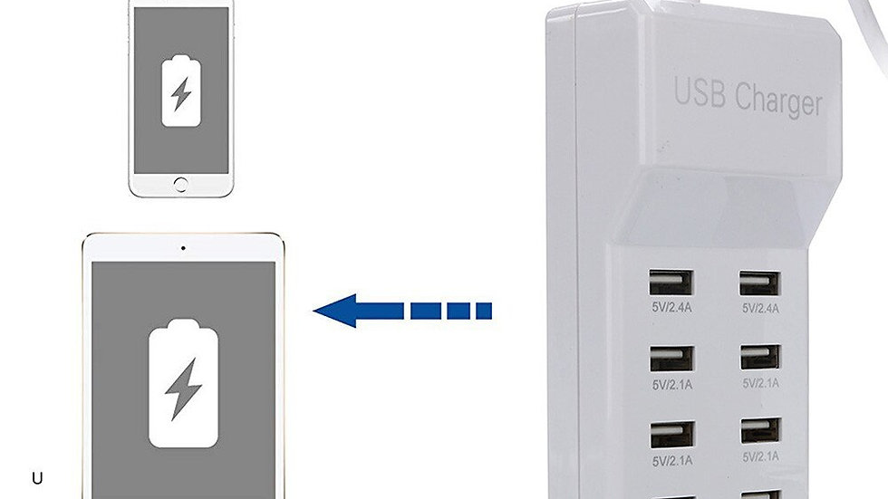 Multi USB Charger 10-Port 60W/12A Desktop