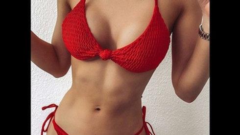 Red Ruched Swimwear Women String Halter Biquini