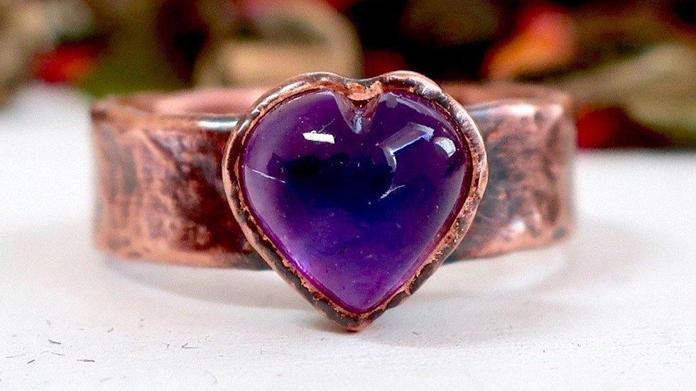 Amethyst Heart Electroformed Copper Ring   Amethyst Ring  