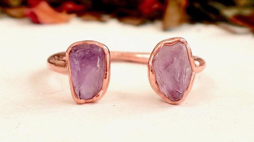 Raw Amethyst Open Copper Ring