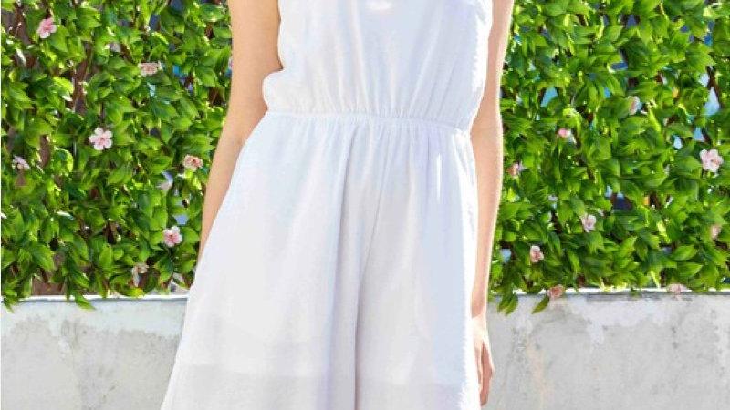 White Cutout Wide Leg Jumpsuit