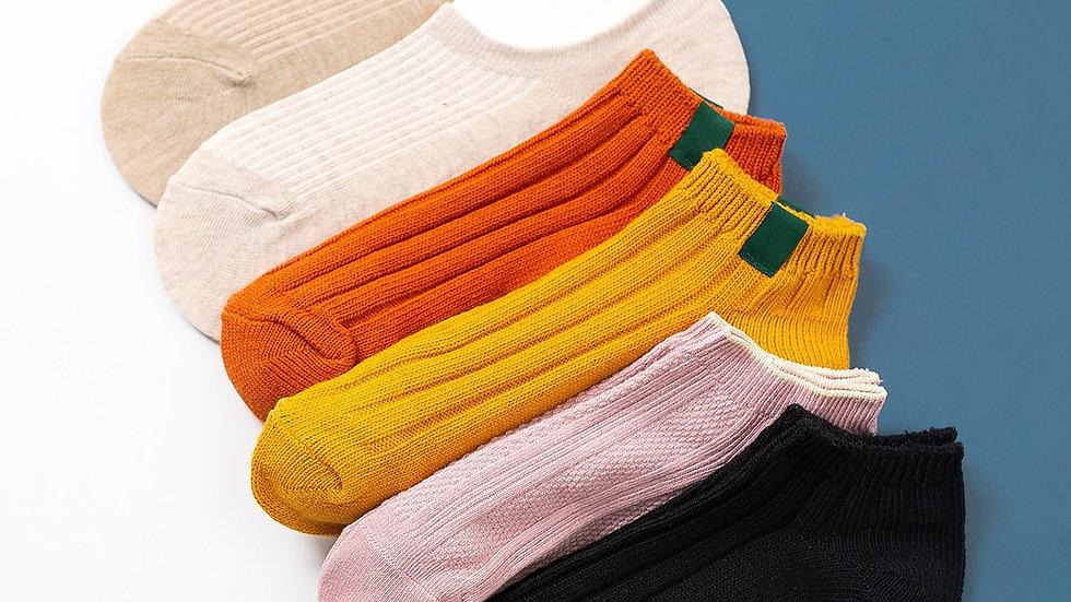 6pairs Simple Ribbed Socks