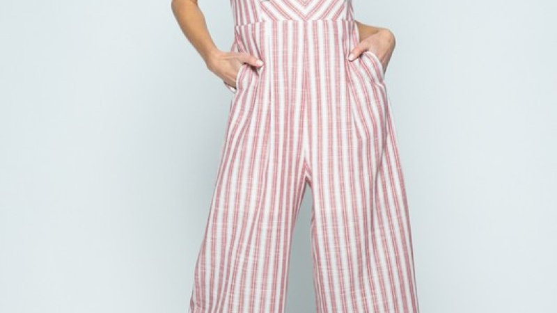 Striped Front Knot Cropped Jumpsuit