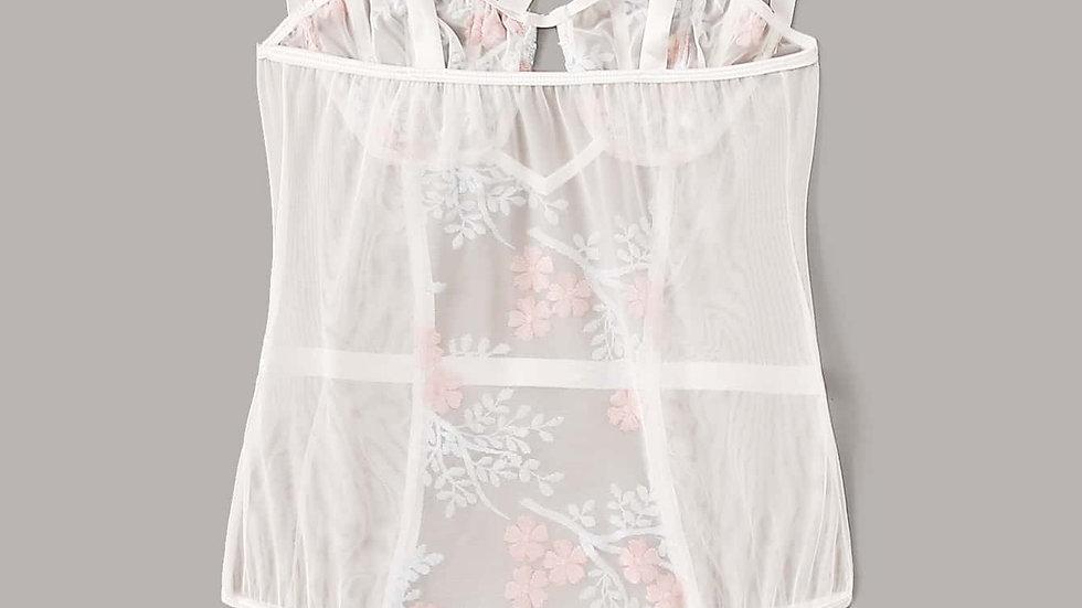 Flower Embroidery Mesh Tie Shoulder Teddy Bodysuit
