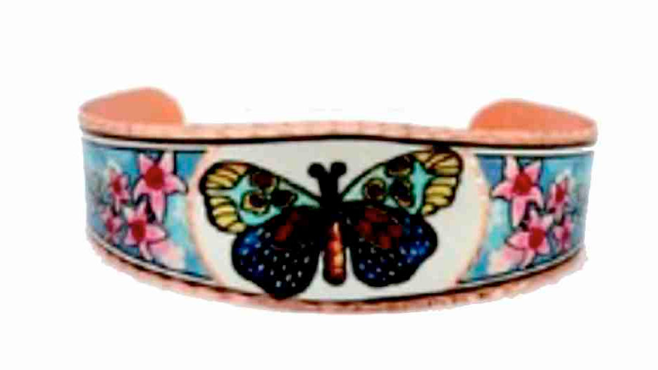 All Copper Bracelet Hand Made Colorful Butterfly