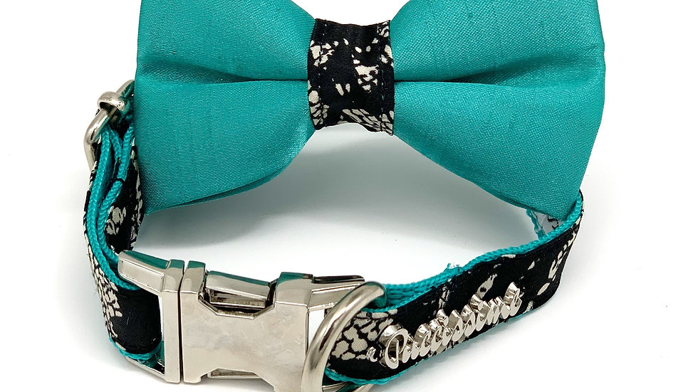 Forest-Dog Collar Satin turquoise   bow tie set