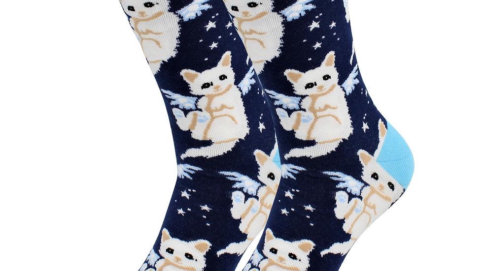 Casual Designer Heavenly Pussy Socks - Angel Cat Socks Women