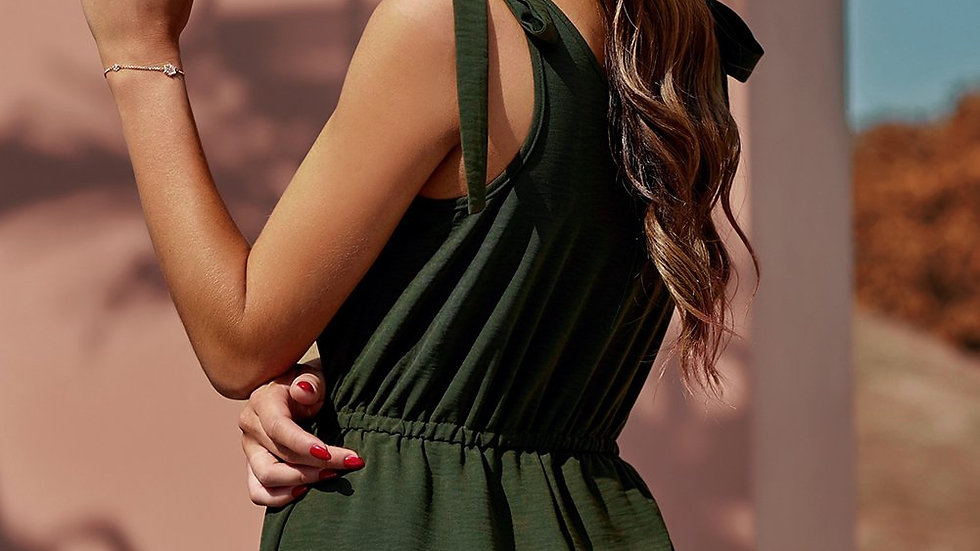 Tie Sleeve Buttons Pocketed Romper
