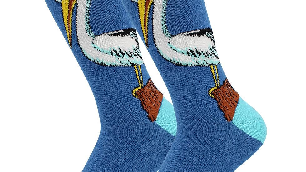 Cute Casual Designer Animal Socks - Pelican - for Women