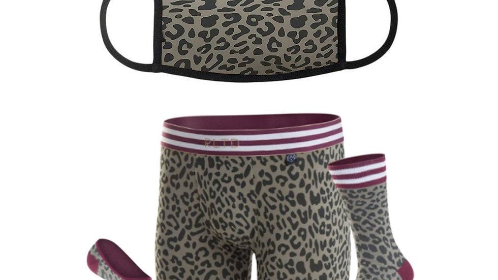 Women's Cheetah Face Cover & Boy Shorts/Sock Combo