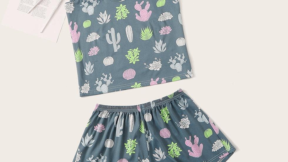 Plants Print Cami Top & Shorts & Eyeshade PJ Set