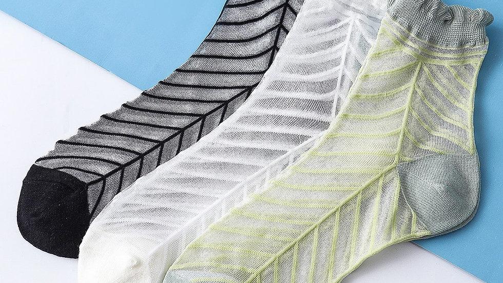 3pairs Striped Pattern Mesh Socks