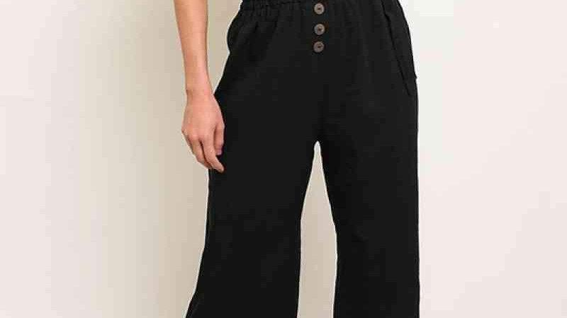 Waist Tie Button Detail Jumpsuit