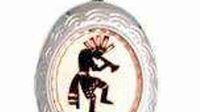 handcraftedsilver plated &diamond cut on copper Native Kokopelli