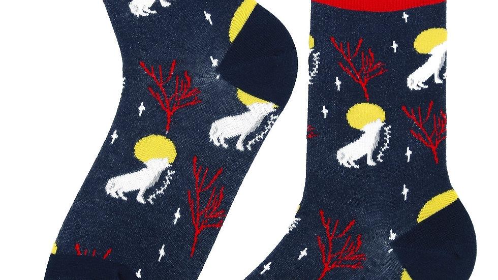 MOONWOLF dark blue cotton socks for women